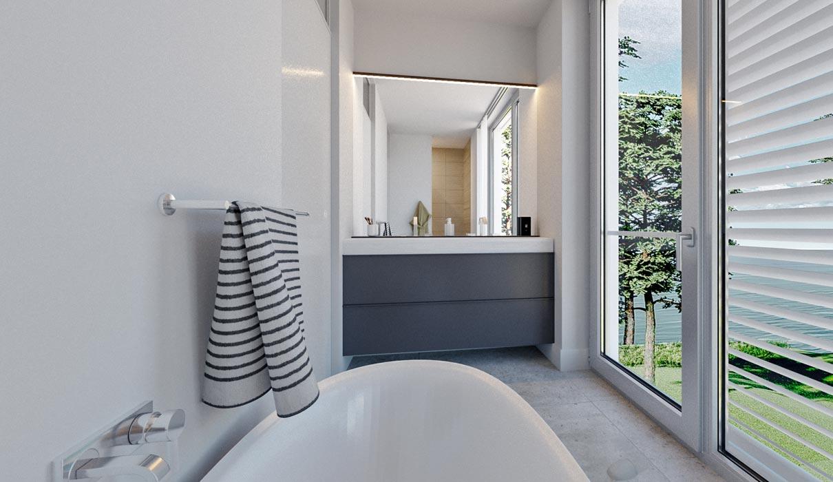 Badezimmer in einer Ferienvilla auf Usedom