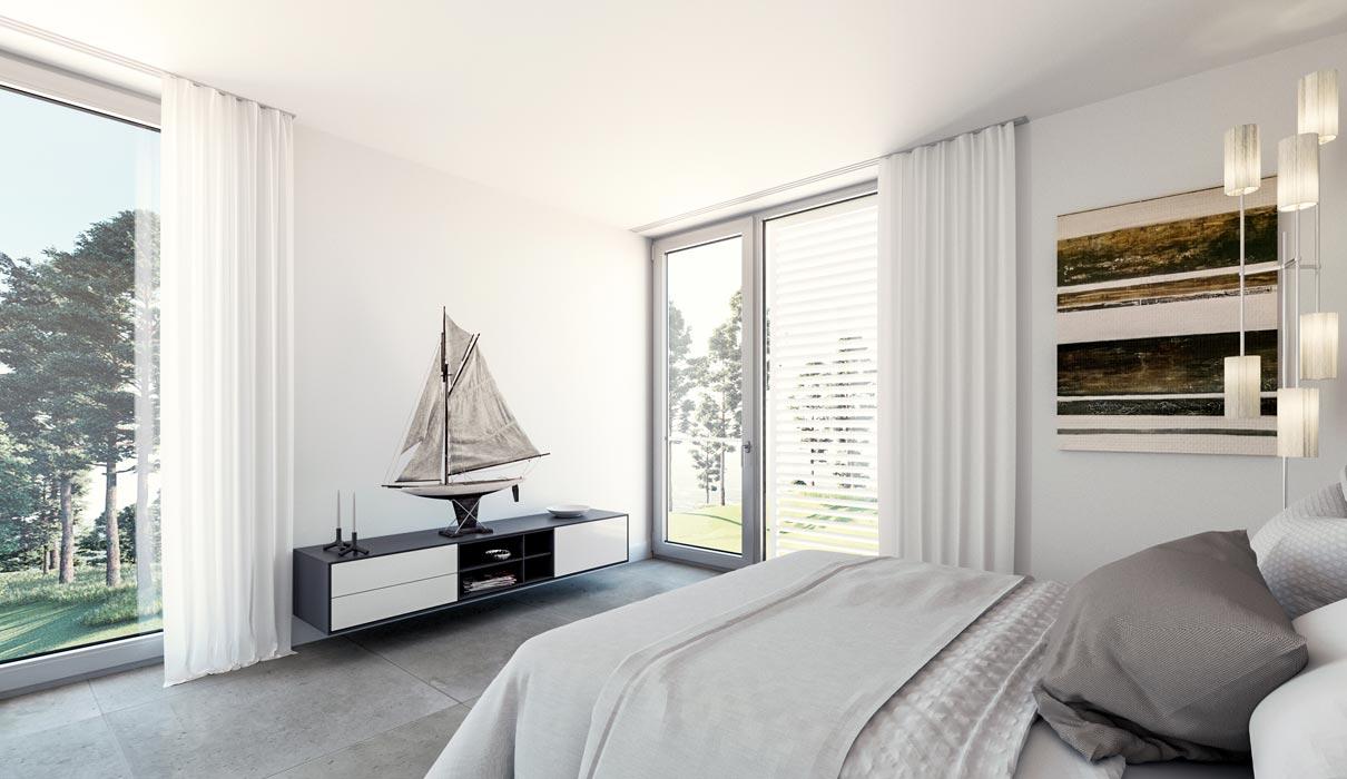 Schlafzimmer in einer der Ferienwohnungen auf Usedom