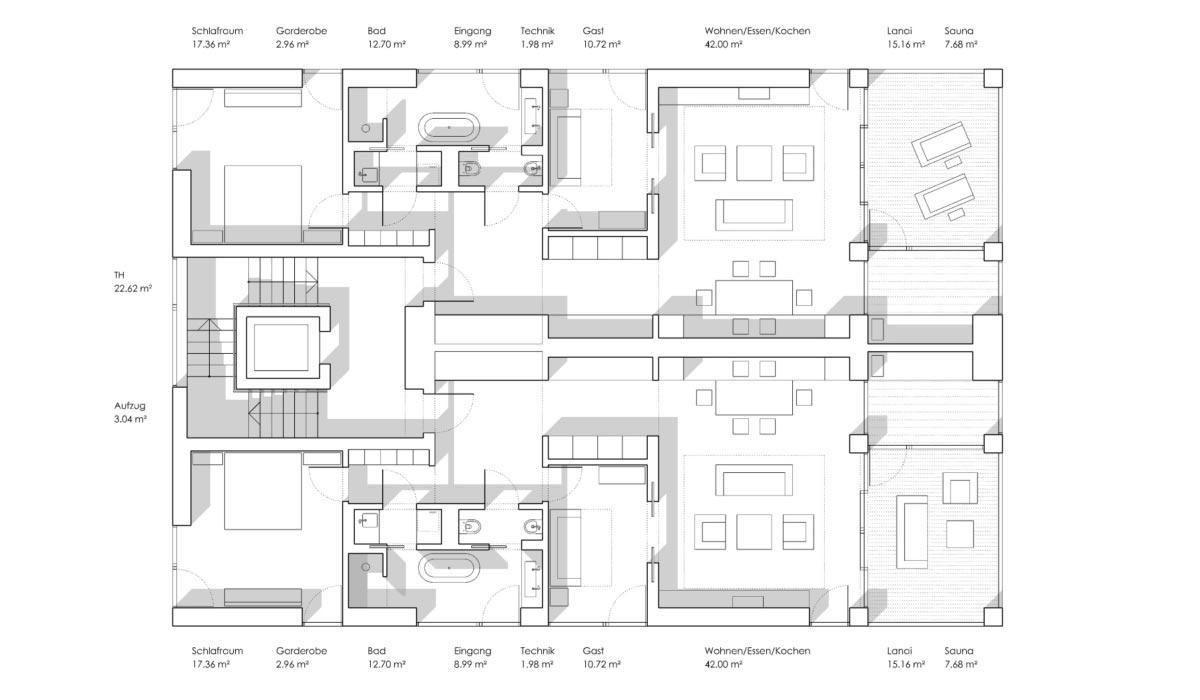 Grundrissvariante mit zwei Wohnungen auf einer Etage